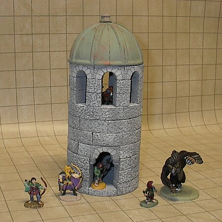 "Small round tower with copper roof, filled with our ""Greyhawk"" party."